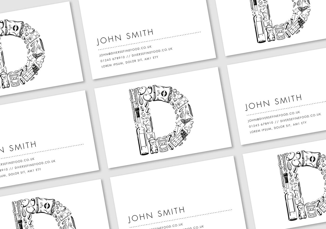 Diverse Fine Food Rebrand Business Cards