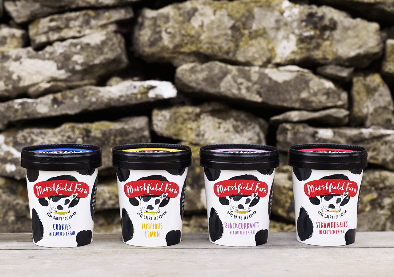 Marshfield Ice Cream Rebranding Packaging Range