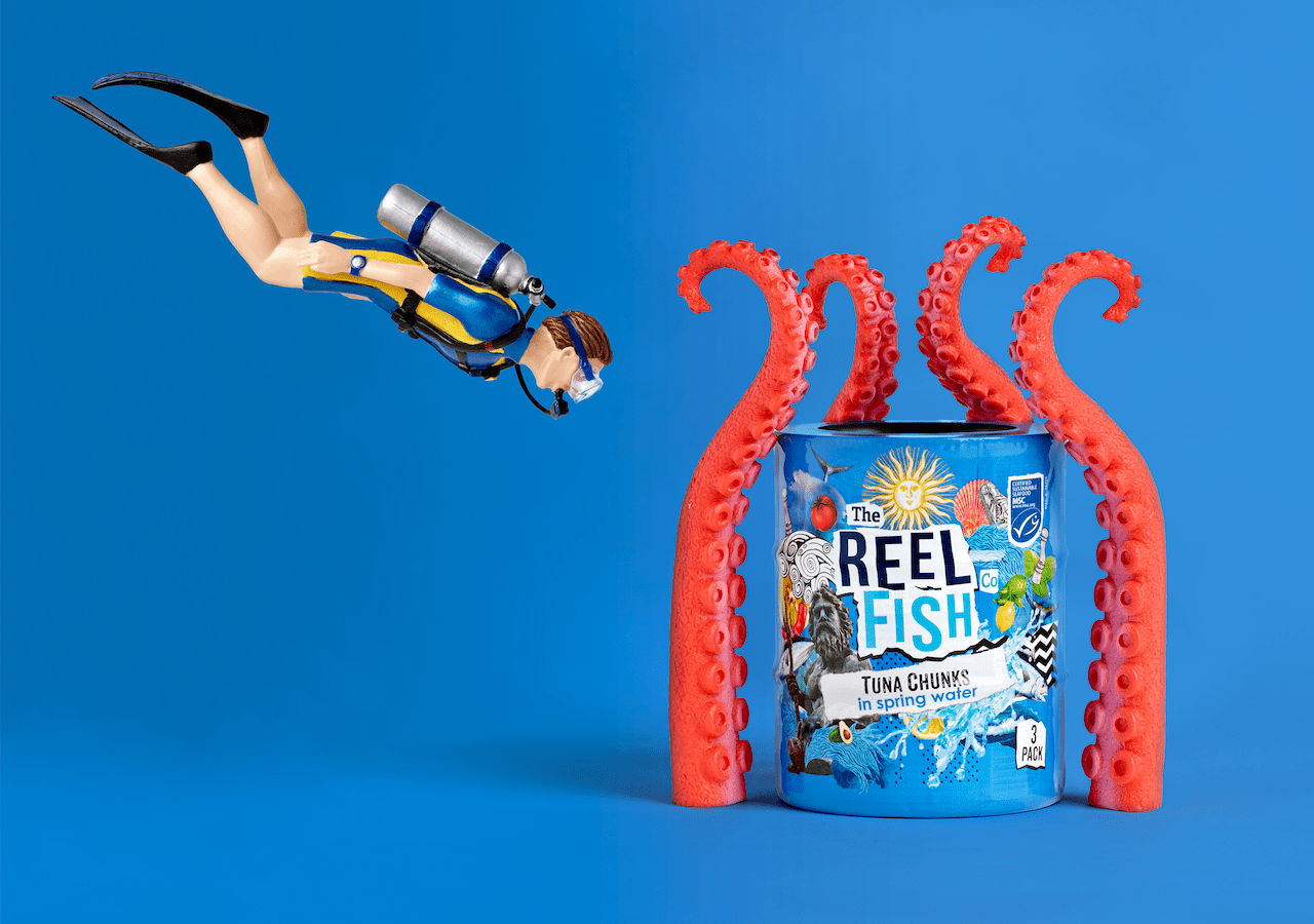 Reel Fish Tuna Rebrand Spring water Packaging Design Scuba Diver
