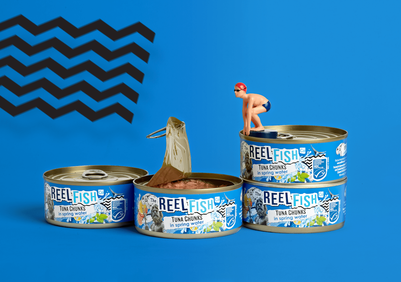 Reel Fish Tuna Rebrand Spring Water Packaging Design