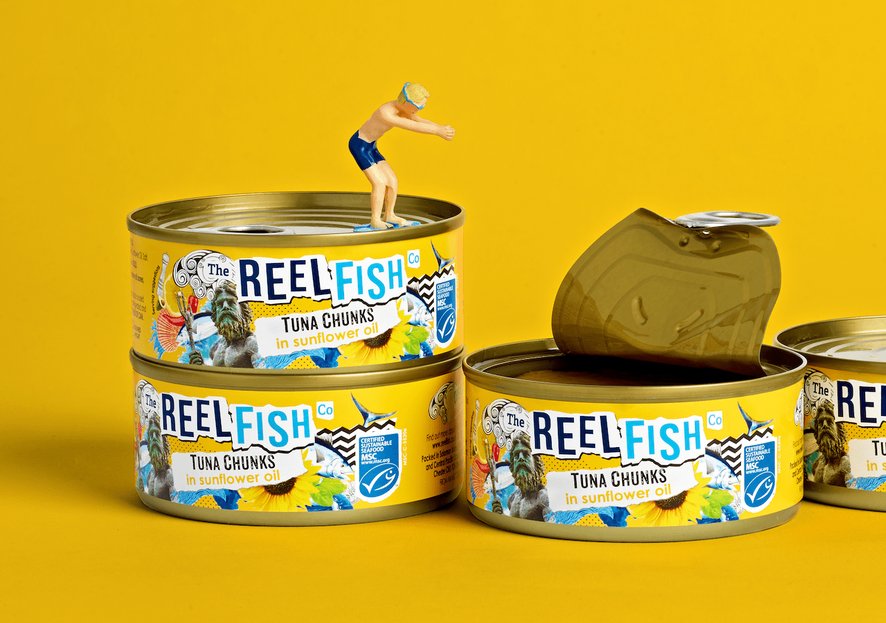 Reel Fish Tuna Rebrand Sunflower Oil Packaging Design Diver