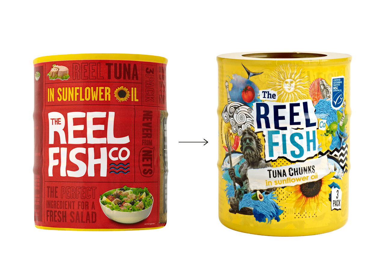 Reel Fish Rebrand Before & After