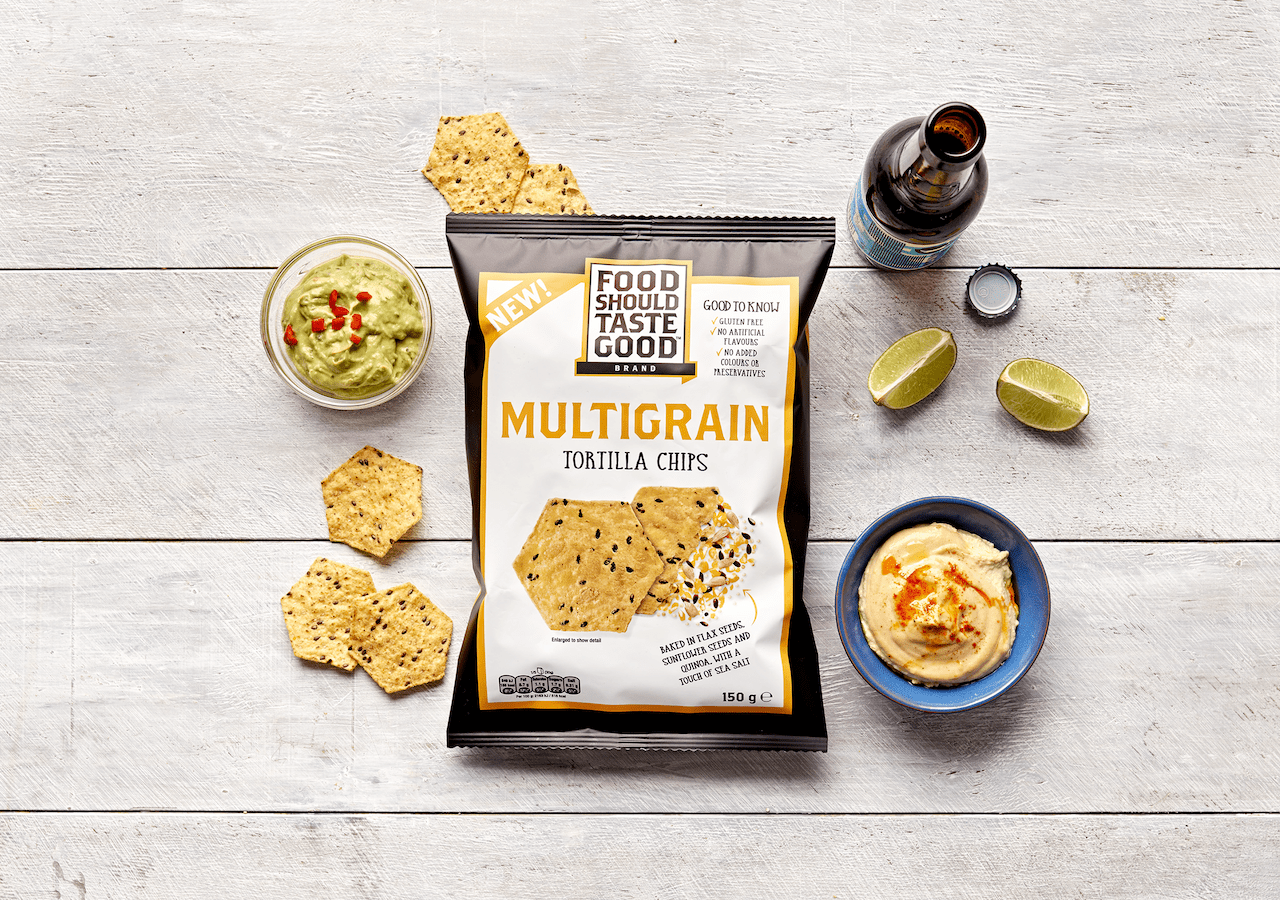 Food Should Taste Good Multigrain Tortilla Chips Packaging Design