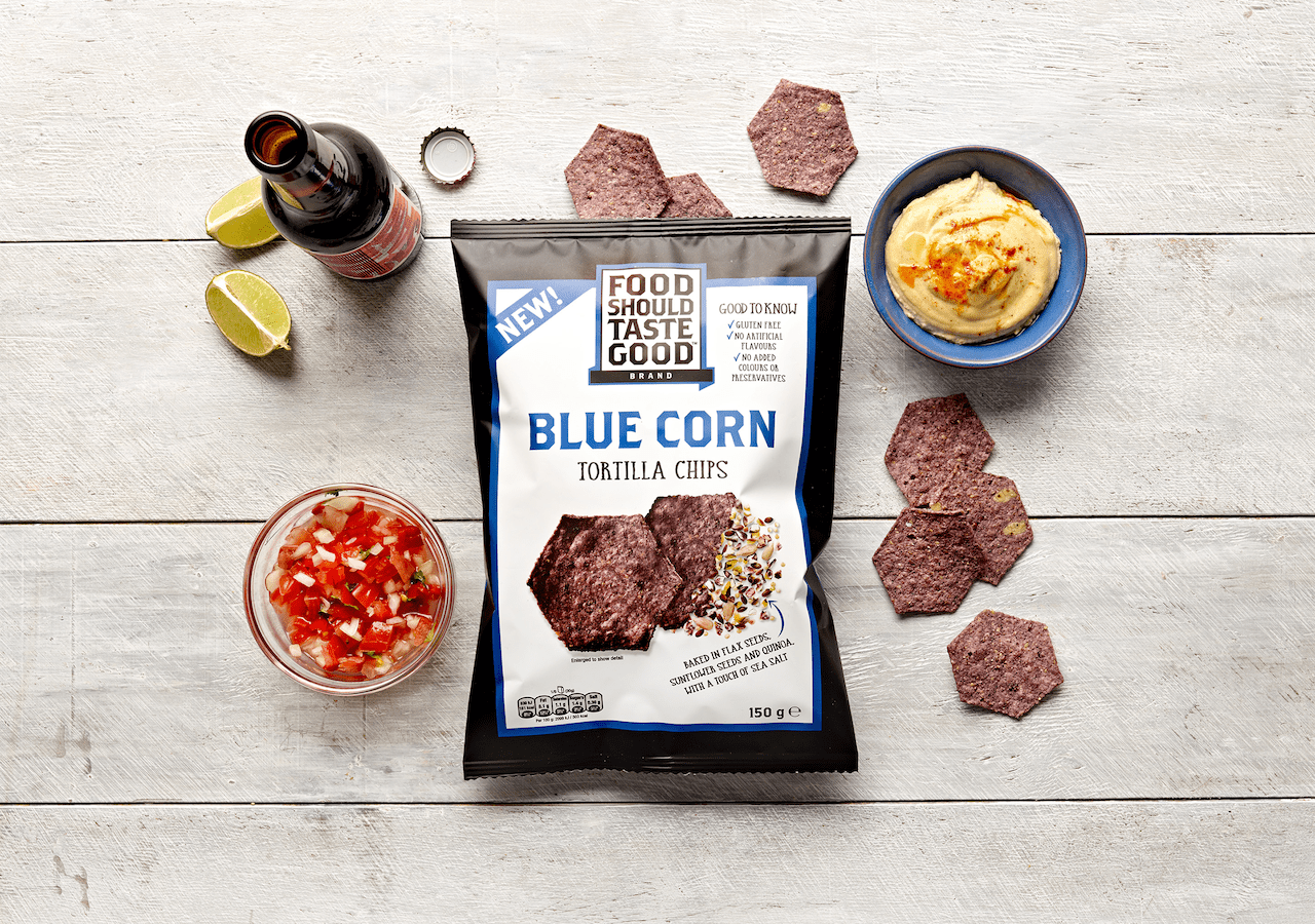Food Should Taste Good Blue Corn Tortilla Chips Packaging Design