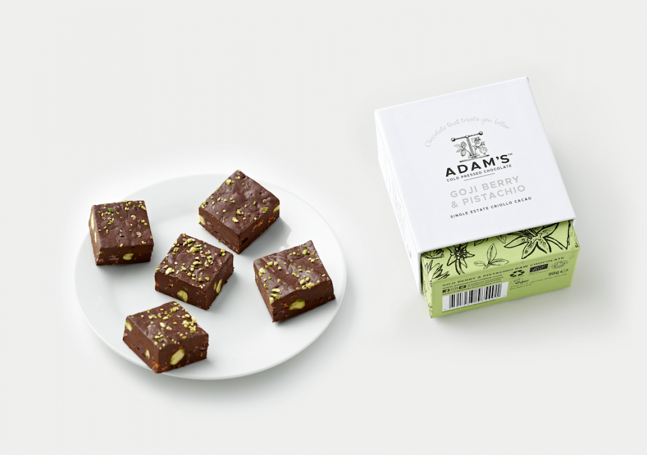 Adam's Chocolate rebrand Goji Berry & Pistachio