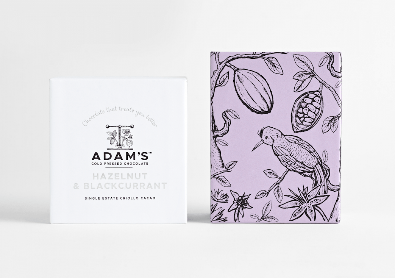 Adam's Chocolate rebrand Hazelnut & Blackcurrant