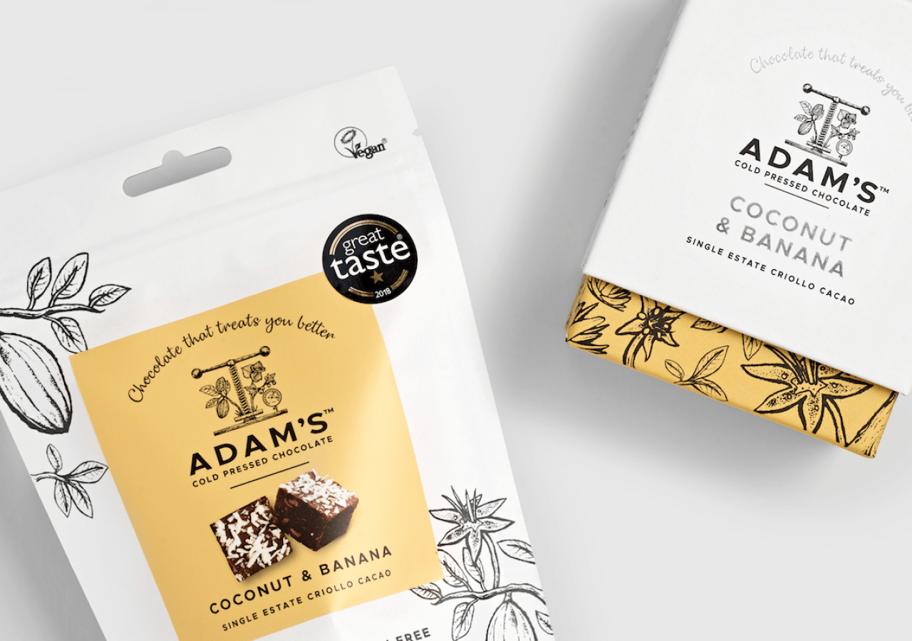 Adam's Chocolate rebrand coconut & banana